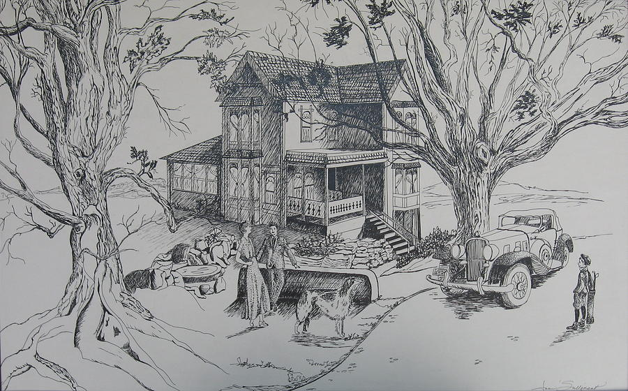 Landscape Drawing - House Years Past by Joan Taylor-Sullivant