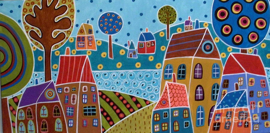 Landscape Painting - Houses And Trees By The Water by Karla Gerard