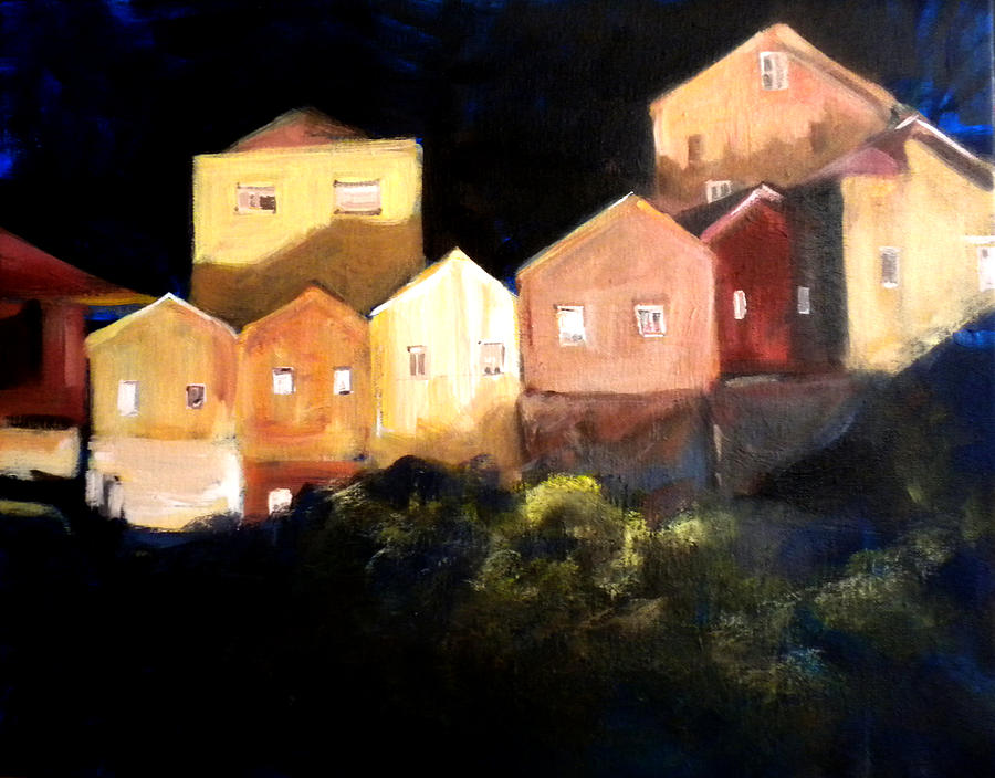 Old Houses Painting - Houses At Sunset by Paula Strother