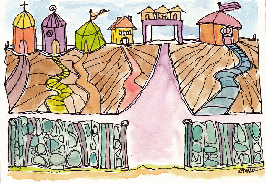 Ink Pen Drawing - Houses By The Sea by Linda Kay Thomas