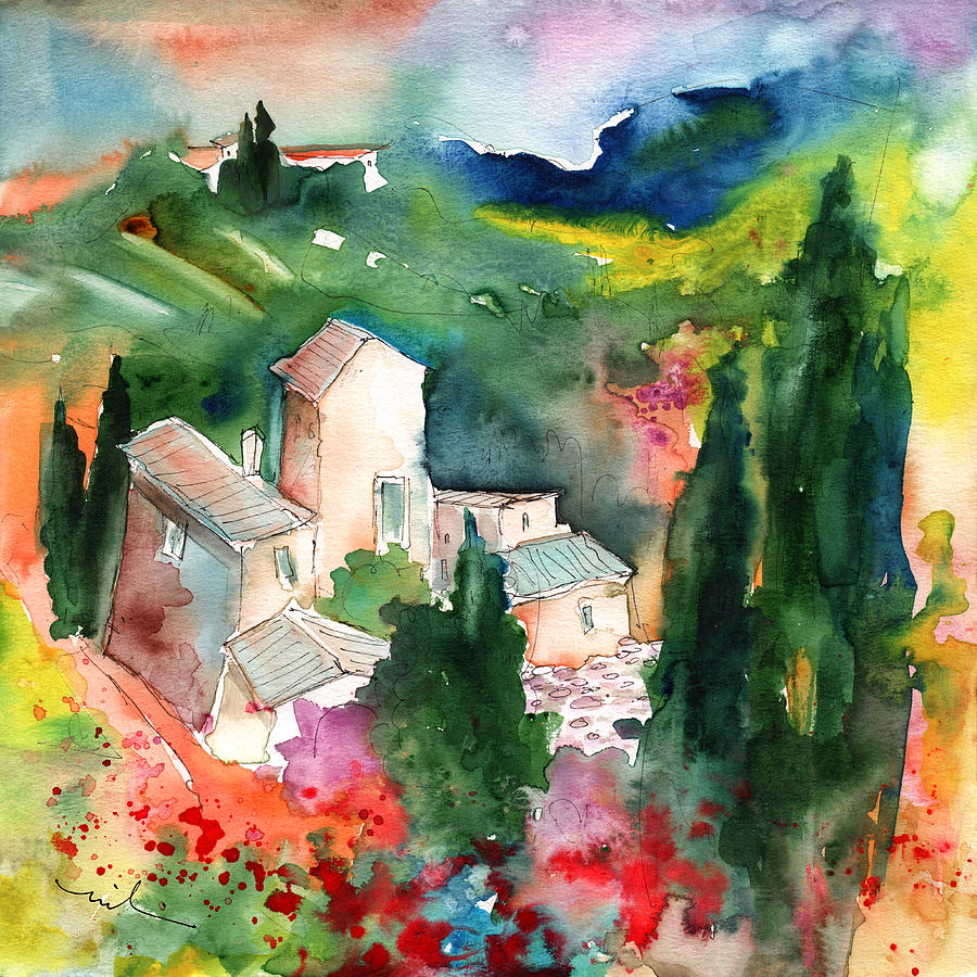 Landscapes Painting - Houses In Montepulciano In Tuscany 01 by Miki De Goodaboom