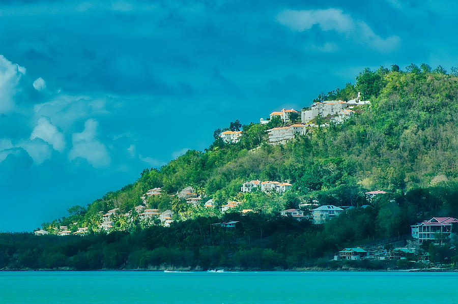 St Lucia Photograph - Houses On Hillside In St Lucia by Gary Slawsky