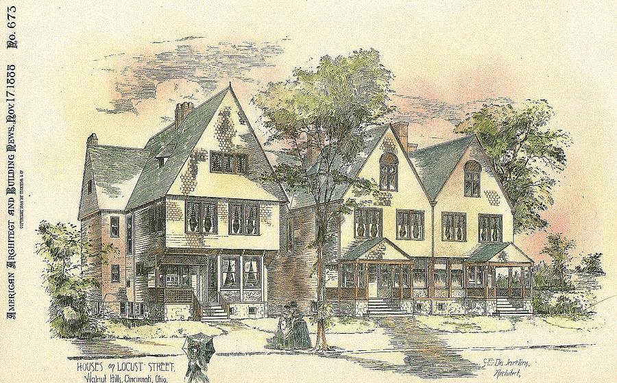 Cincinnati Painting - Houses On Locust Street Walnut Hills Cincinnati Ohio 1888 by SE DesJardins