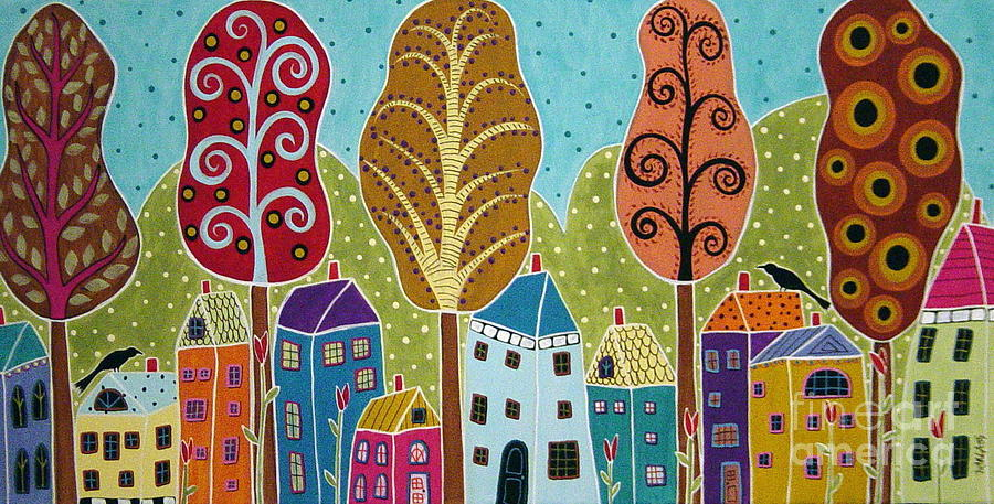 Trees Painting - Houses Trees Birds Painting By Karla G by Karla Gerard