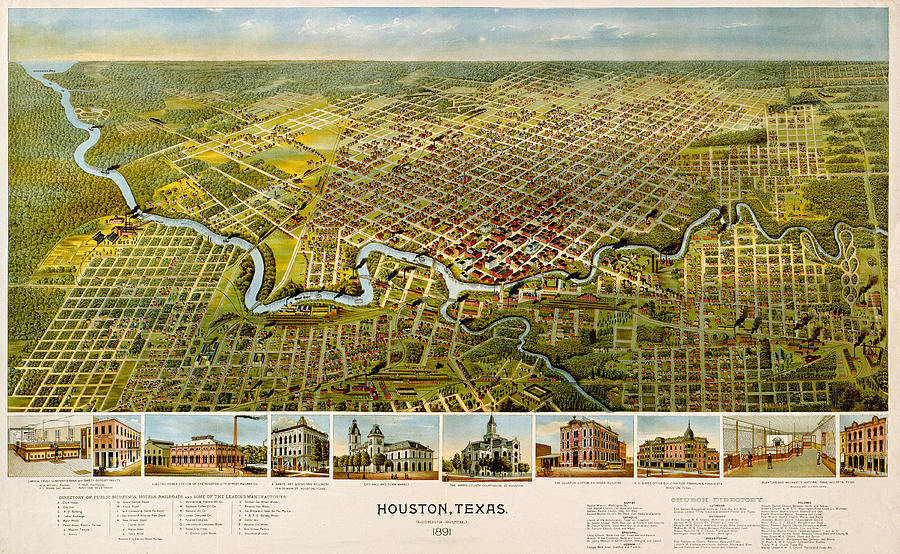 Houston 1891 by Texas Map Store