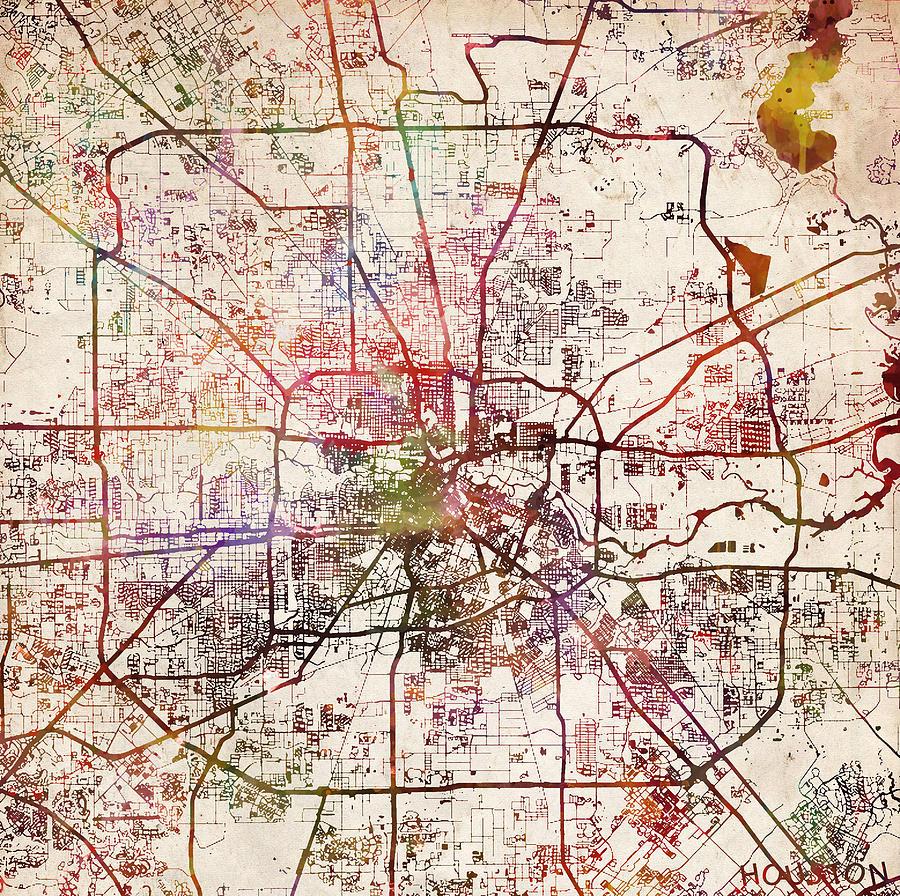 Houston Map Texas Painting by Map Map Maps