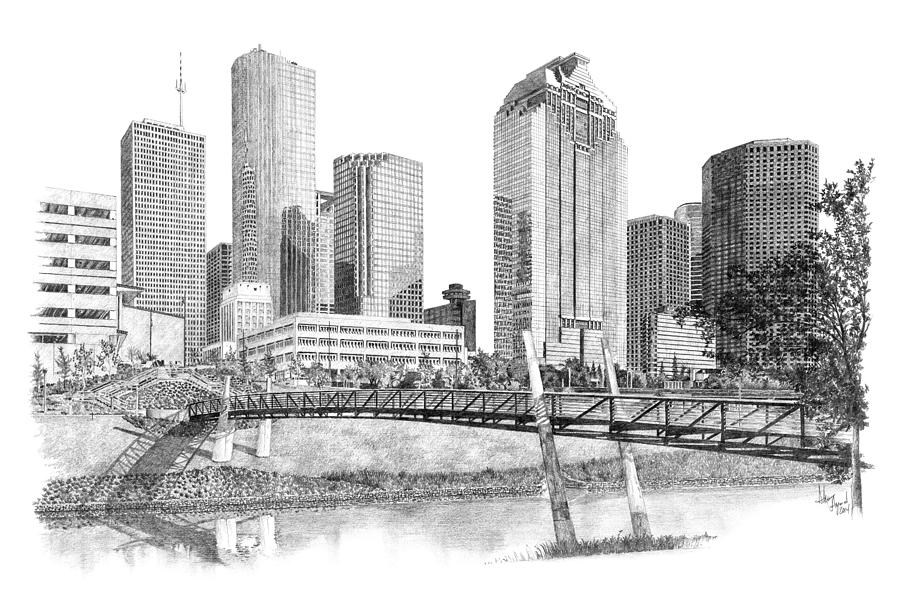 Houston Skyline Drawing By Andrew Aagard