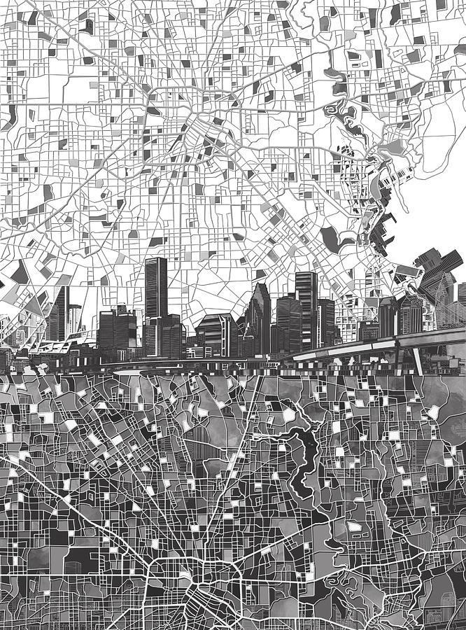 Houston Skyline Map Black And White 2 Painting By Bekim Art