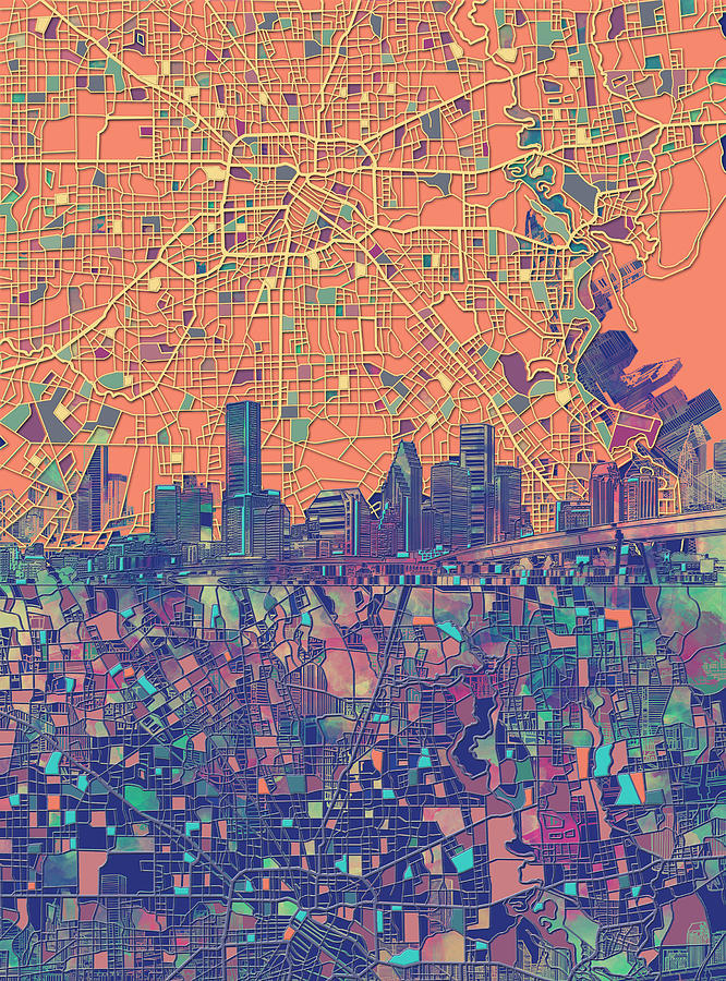 Houston Painting - Houston Skyline Map by Bekim M