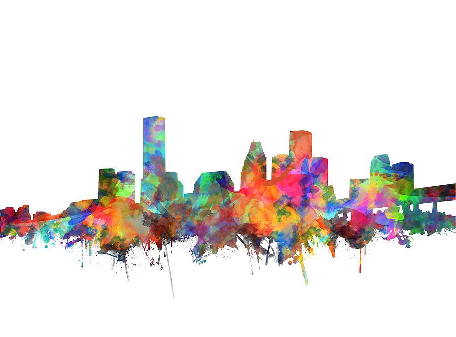 Houston Painting - Houston Skyline Watercolor 6 by Bekim M