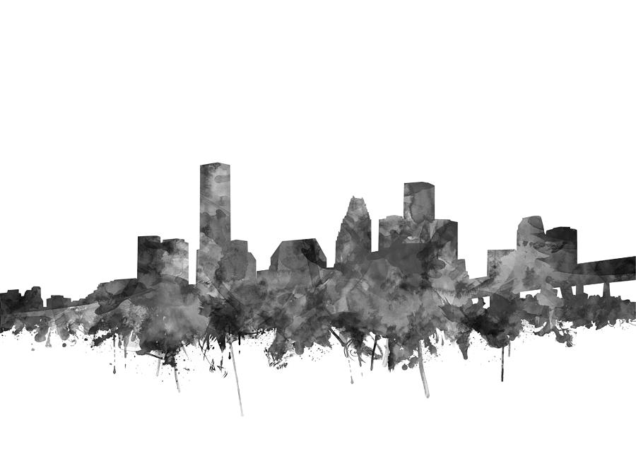 Houston Skyline Watercolor Black And White Painting By