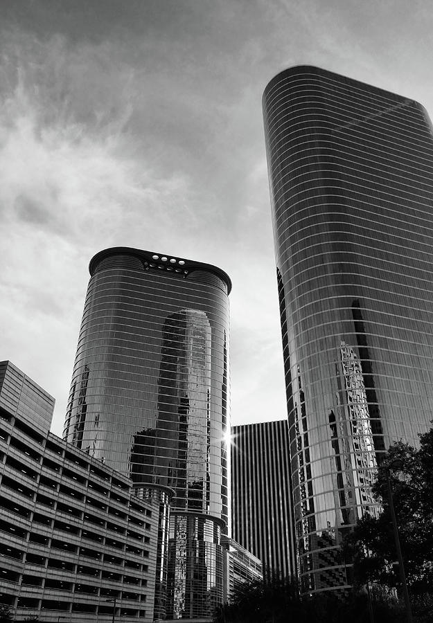 Houston Photograph - Houston Skyscrapers Black And White by Judy Vincent