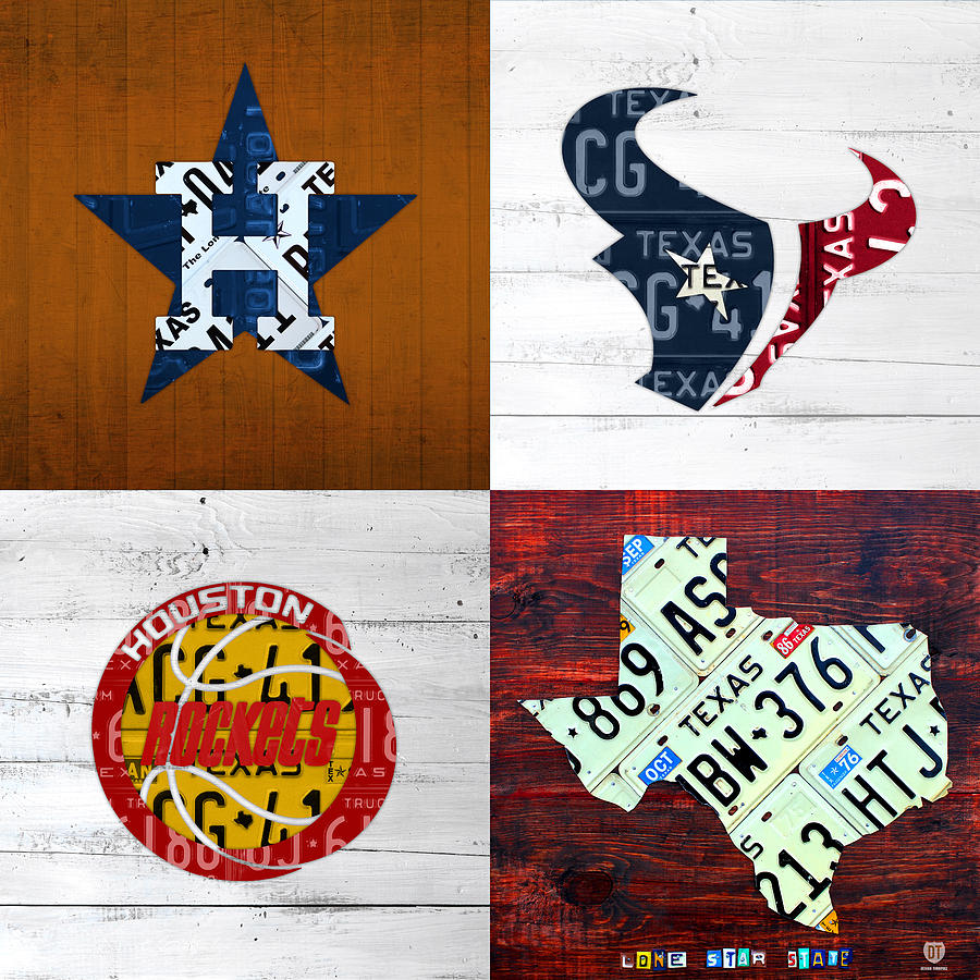 Houston Mixed Media - Houston Sports Fan Recycled Vintage Texas License Plate Art Astros Texans Rockets And State Map by Design Turnpike