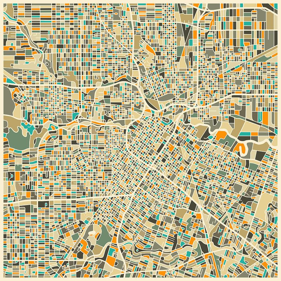 Houston Texas Map Digital Art by Jazzberry Blue