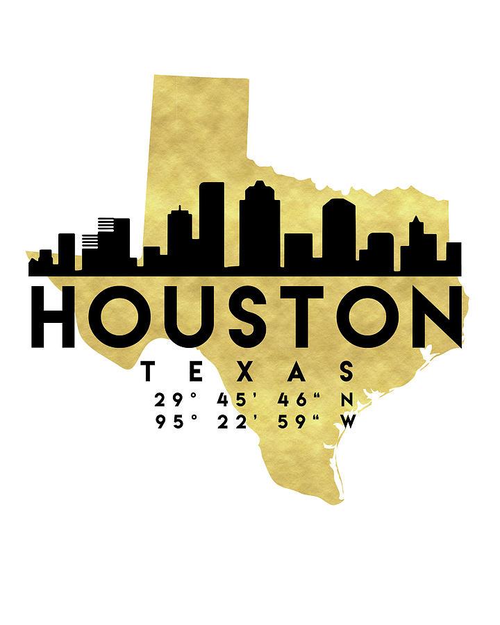 Houston Texas Silhouette City Skyline Map Art