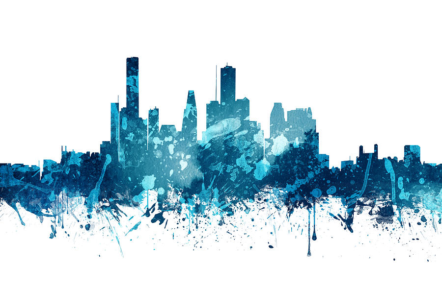 houston texas skyline 19 painting by aged pixel