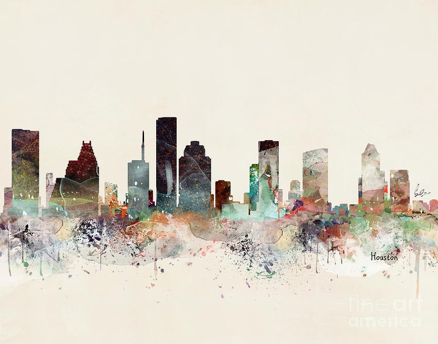 Houston Painting - Houston Texas Skyline by Bri Buckley