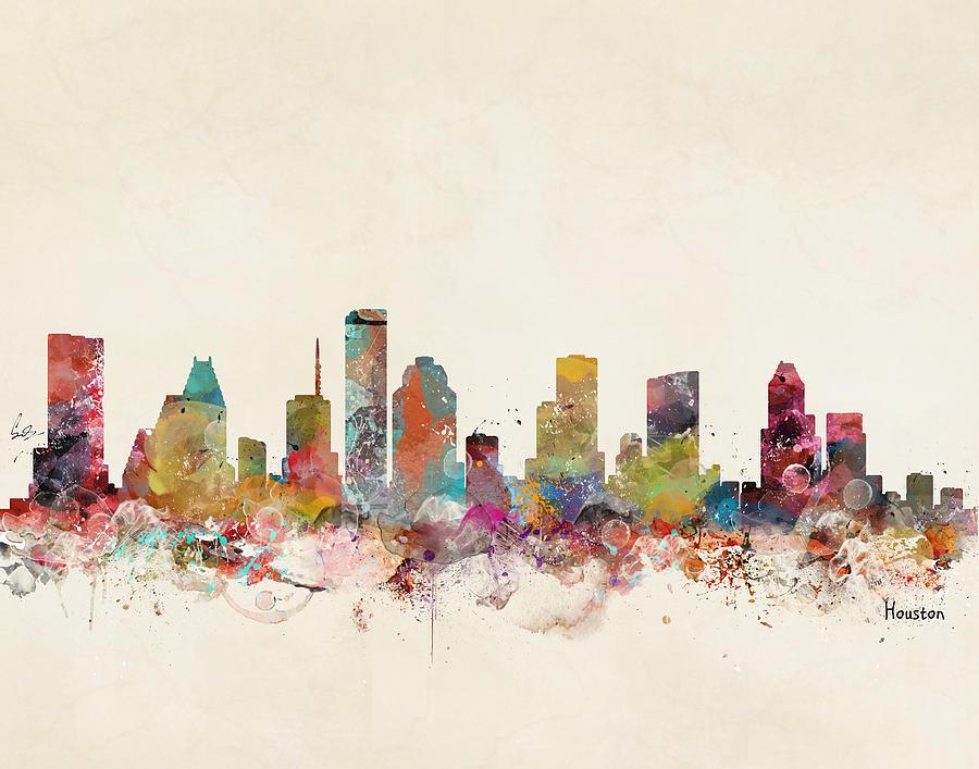 Houston Texas Skyline Painting - Houston Texas Skyline by Bri Buckley