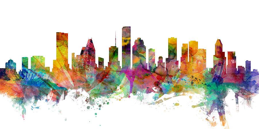 United States Digital Art - Houston Texas Skyline Panoramic by Michael Tompsett