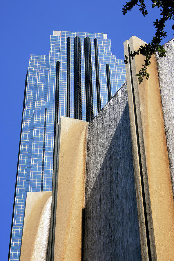 Houston Water Wall and Williams Tower by Angela Rath