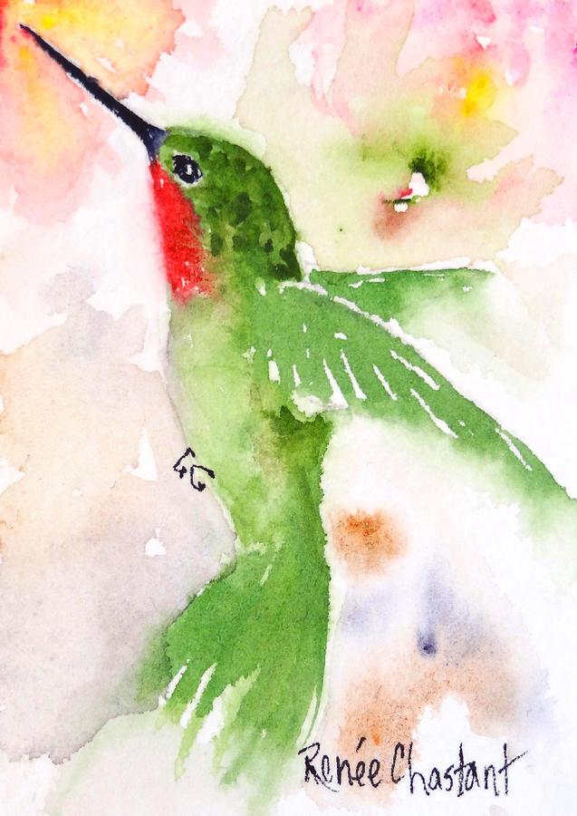 Hummingbird Painting - Hovering Annas Hummingbird by Renee Chastant
