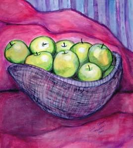 Food Painting - How Do You Like Them Green Apples by Ruth Olivar Millan