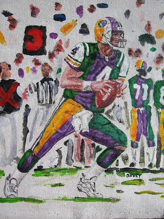 Favre Packers Vikings Jets Football Nfl Painting - How Favre Will He Go by David Hipwell