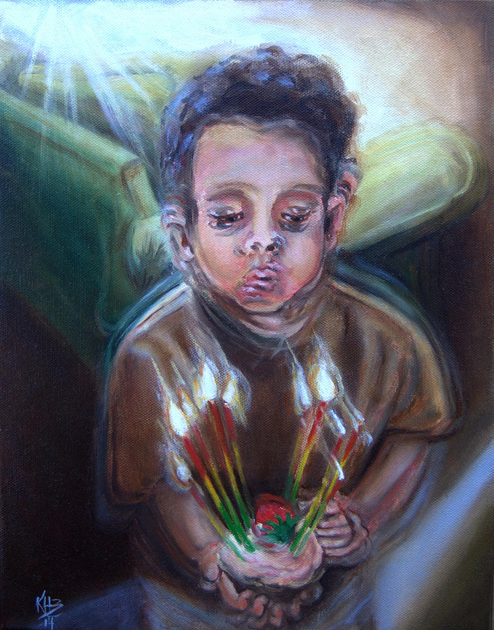 Visual Disturbances Painting - How Many Candles Is That? by Kirsten Beitler