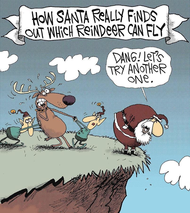 Santa Digital Art - How Reindeer Fly by Justin Clanton