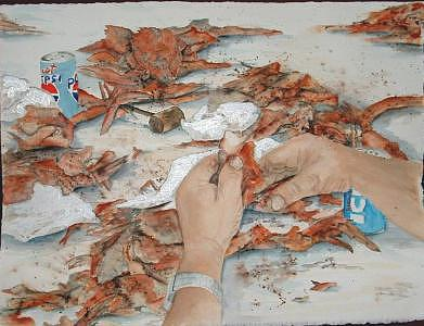 Crabs Painting - How To Eat Crabs by Diane Ziemski