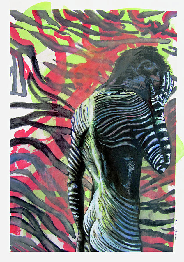 Archetypes Painting - Rising From Ashes Zebra Boy by Rene Capone