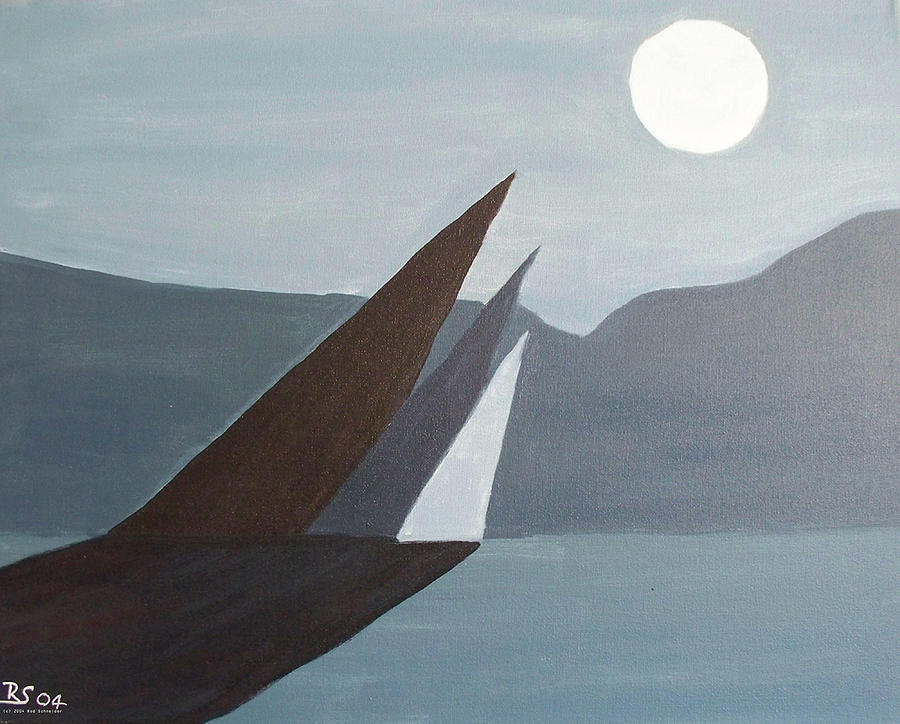 Abstract Painting - Howlin At The Moon by Rod Schneider