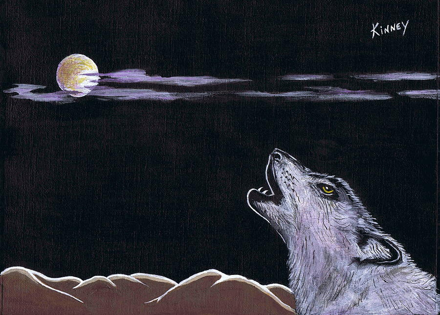 Wolf Painting - Howling At The Moon by Jay Kinney