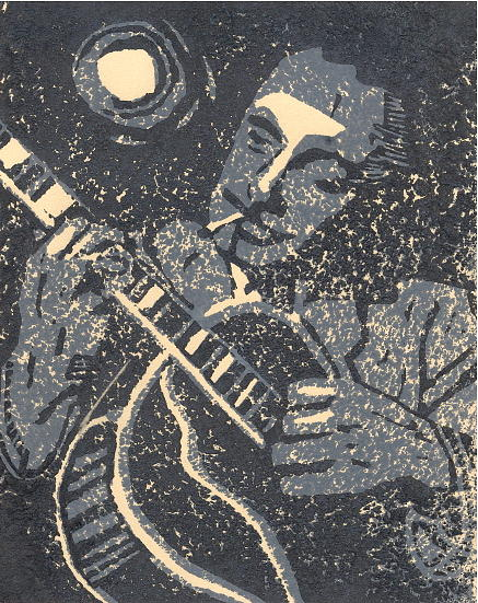Linocut Relief - Howling At The Moon by John Brisson