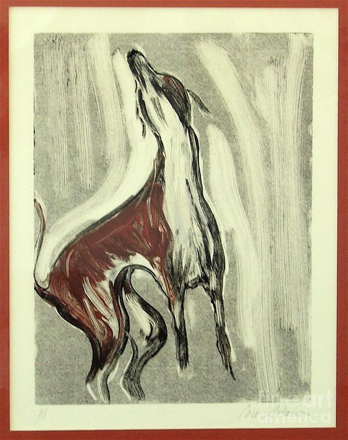 Monotype Mixed Media - Howling For Joy by Cori Solomon