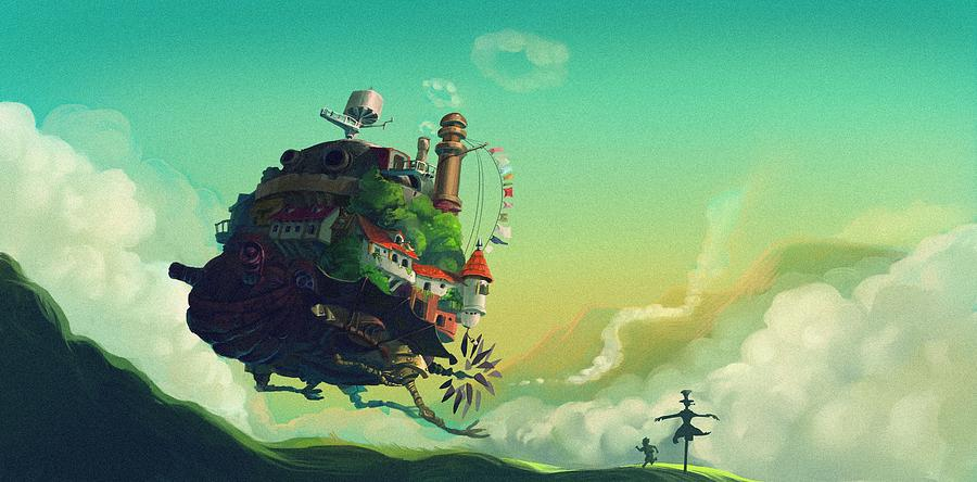 Moving Digital Art - Howls Moving Castle by Lobito Caulimon