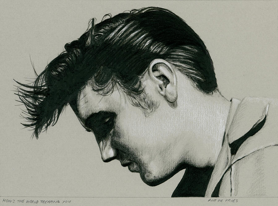 Elvis Drawing - Hows the world treating you by Rob De Vries