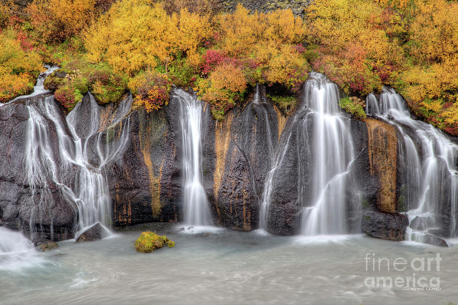 Hruanfossar Waterfall Iceland by Gordon Wood
