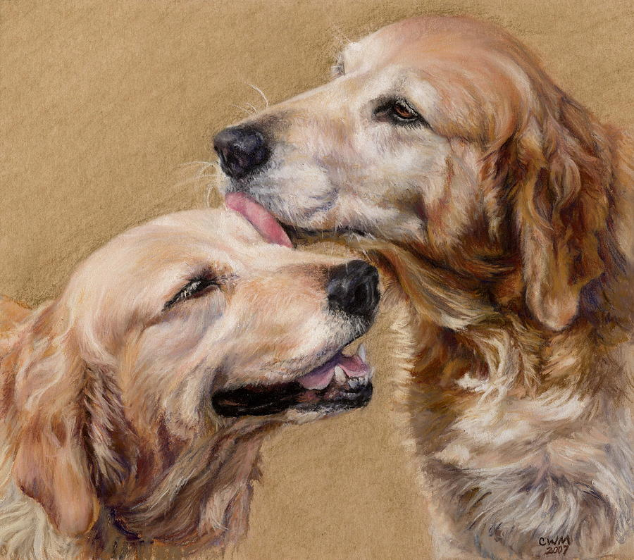 Golden Retriever Painting - Huck And Blue by Candy Maley