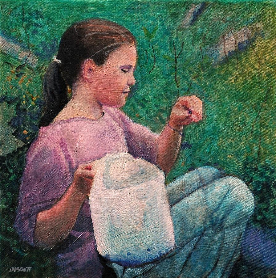 Girl Painting - Huckleberry Picker by Robert Bissett