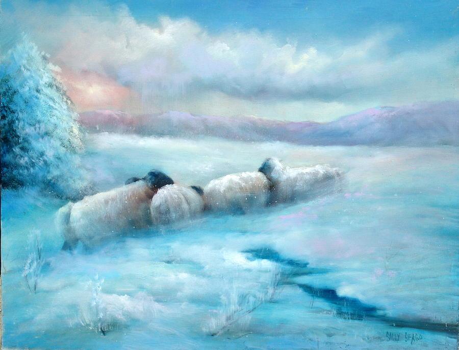 Winter Painting - Huddling Sheep by Sally Seago