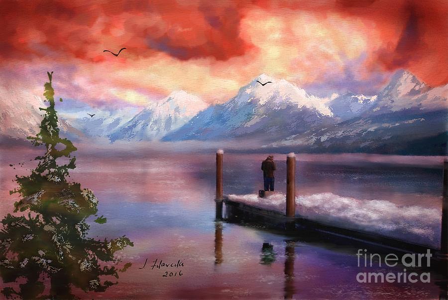 Hudson Bay Painting - Hudson Bay Winter Fishing by Judy Filarecki