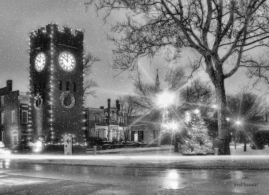 Hudson Holidays In Black And White Photograph