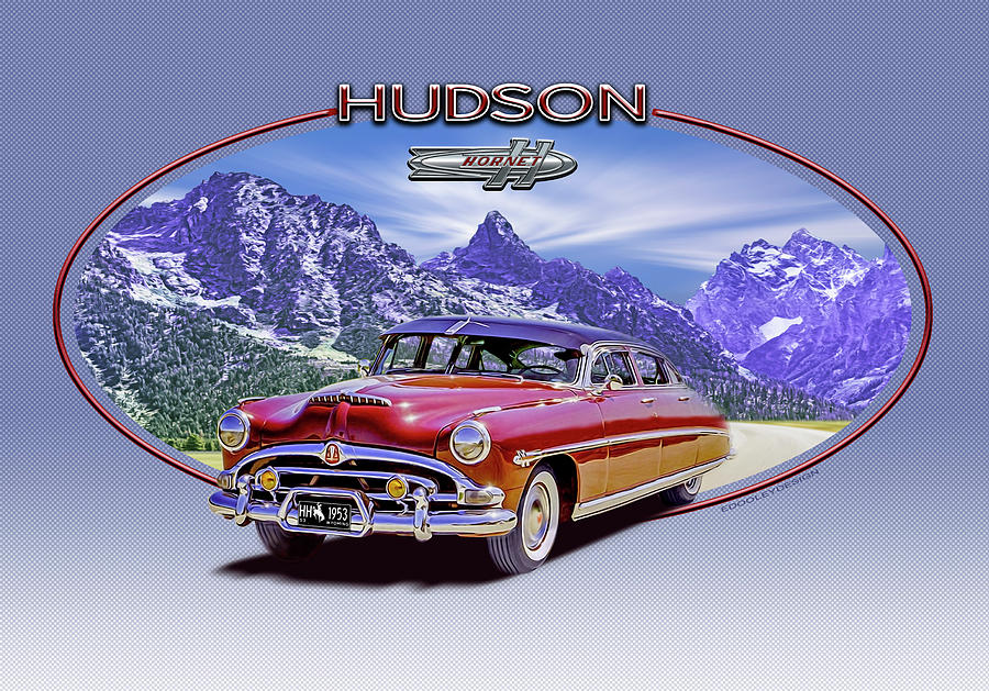 Hudson Digital Art - Hudson Hornet Travels The Tetons by Ed Dooley