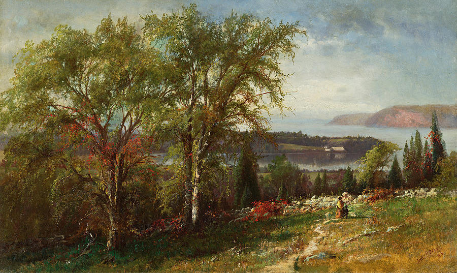 Canvas Prints Painting - Hudson River At Croton Point by Julie Hart Beers