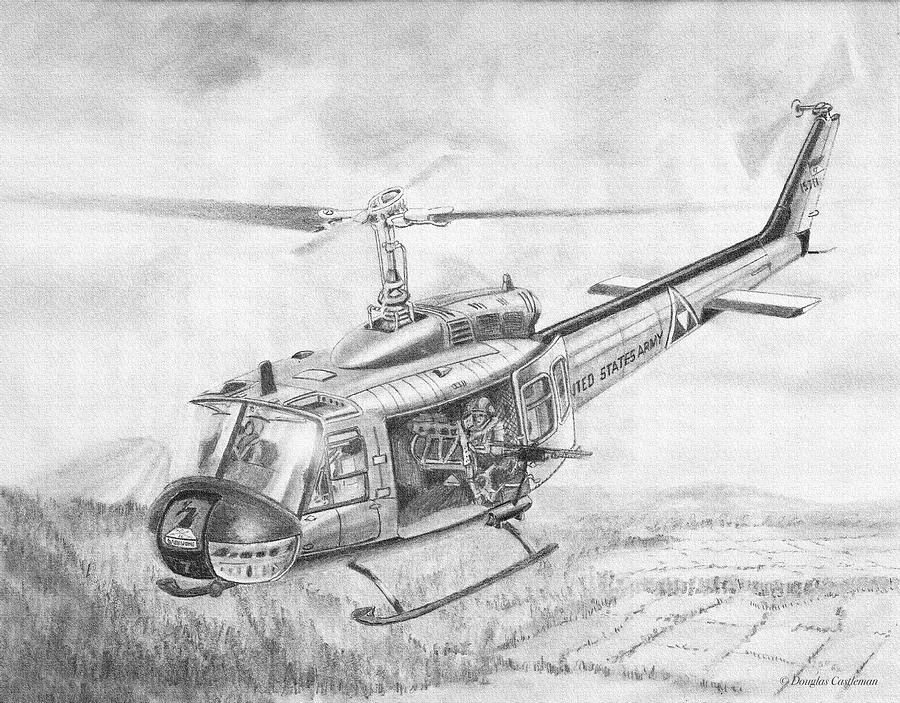 Huey In Vietnam Drawing By Douglas Castleman