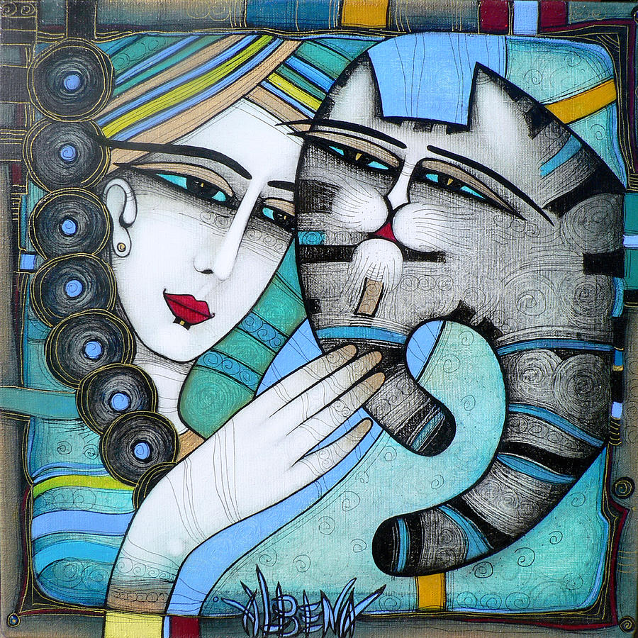 Girl Painting - hug by Albena Vatcheva