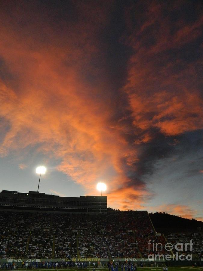 Fort Collins Photograph - Hughes Stadium Sunset by Sara  Mayer
