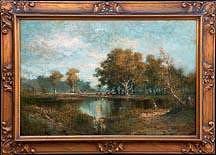Hugo Anton Fisher Woman Fishing At Pasture Pond Painting by Hugo Anton Fisher