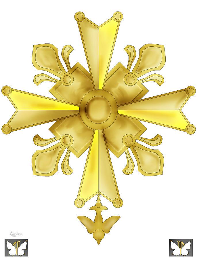 Christian Cross Painting - Huguenot Golden Cross by Anne Norskog